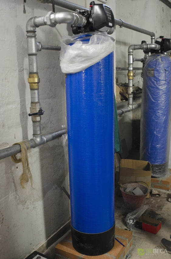 View of water softeners in industrial plant